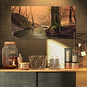 "Designart PT11763-32-16 国家公园野生溪 现代森林帆布墙壁艺术 绿色 32x16"" PT11763-32-16"