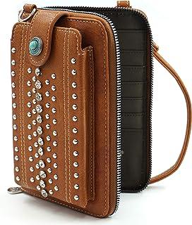 女式斜挎钱包旅行尺寸 12 个信用卡/身份证和手机夹插槽