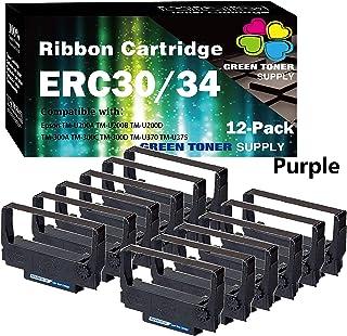 (12 件装,紫色)GTS 兼容 POS 色带替换件 爱普生 ERC30/34/38 色带盒适用于 ERC-30 ERC-34 ERC-38