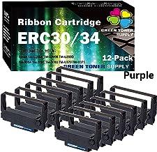 (12 件裝,紫色)GTS 兼容 POS 色帶替換件 愛普生 ERC30/34/38 色帶盒適用于 ERC-30 ERC-34 ERC-38