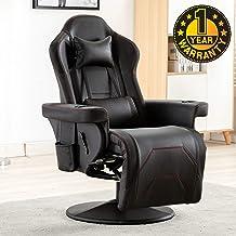 Merax 游戏躺椅游戏椅桌椅带脚凳、头枕、腰枕、2 个杯托、2 个可拆卸侧袋,黑色