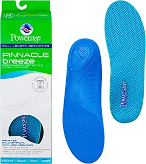 Powerstep Pinnacle Breeze Shoe Insoles – Shock-Absorbing Arch Support and Cushioning for Plantar Fasciitis, Arch and Heel Pain, Flat Feet and Overpronation
