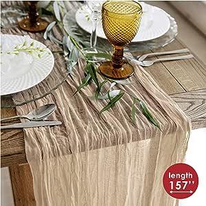 薄纱桌巾 - 奶酪桌布 - 婚礼节日桌巾 - 乡村桌巾 160 英寸 - 波西米亚鸡婚礼桌布 - 长桌巾适合婚礼或浪漫晚餐 Hazelnut