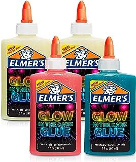 Elmer's 夜光型液态胶水,非常适合制造粘液,可水洗,多种颜色,每个5盎司/147ml,4个