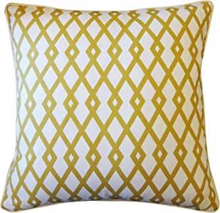 Jiti Moderna Cotton Square Throw Pillow, 20-Inch, Gold