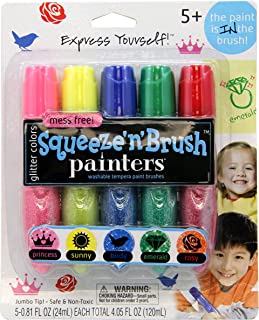 Elmer's Painters Squeeze 'n Brush Washable Tempera Paint Brushes, Set of 5 Color Brushes, Glitter Colors (E113)