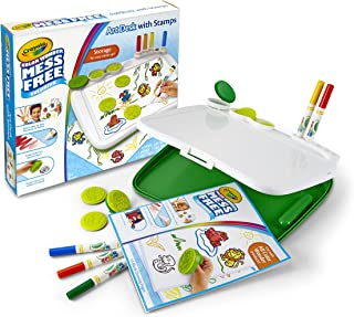 Crayola 绘儿乐 Color Wonder 凌乱的的艺术书桌,带邮票,5个标记,5个邮票,纸,便携式手提箱,着色板