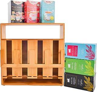 改进竹制茶袋收纳架,4 隔层大容量,方便取用木质茶具存放架,带展示窗口。 非常适合茶爱好者、餐馆和*店