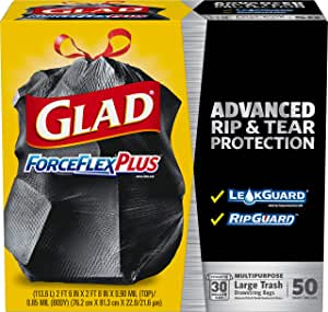 Glad ForceFlex Extra Strong Outdoor Drawstring Large Trash Bags, 30 Gallon, 50 Count