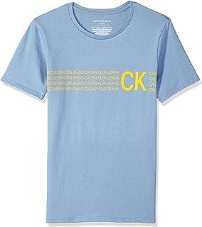 Calvin Klein 男士大男孩文字条纹标志圆领 T 恤