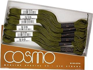 cosmo 25号刺绣线 8m束 Col.926 绿色 系 1盒 6束