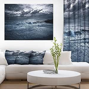 设计艺术 Sochi 海风暴 蓝色现代风景墙壁艺术画布 蓝色 30'' H x 40'' W x 1'' D 1P PT10370-40-30