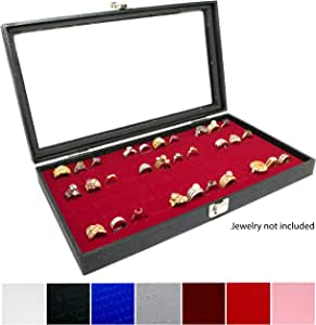 Novel Box® 玻璃上装黑色珠宝展示盒 + 72 或 36 个槽环展示插片 + 定制 NB 袋.
