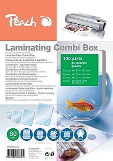Peach PPC500-03A 层压贴膜 Spare-套装 100 张片 即 A4,A5,A6 和名片夹片 2 x 80 微光光抛光 片,与所有品牌厂商的层压设备兼容