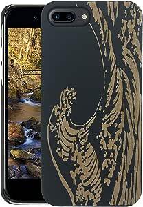 木质 iPhone 手机壳 - iPhone 7 Plus/iPhone 7 Plus 手机壳 - WDPKR 木质手机套 - 独特的高对比度黑色涂漆木防撞配件苹果 iPhone 7 Plusi7plus 波浪