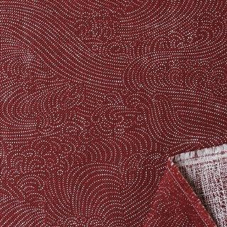 """NBK 日式印刷""""波纹"""" 斑驳线交叉 宽108cm×2m缝制切割 红色 B88333Z-2-2M"""