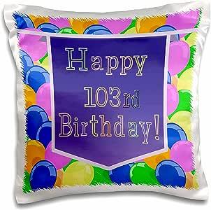 3drose BEVERLY TURNER 生日设计–气球图案紫色横幅 HAPPY 12岁生日–枕套