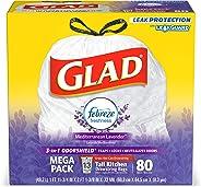 Glad OdorShield Tall Kitchen Drawstring Trash Bags - Febreze Mediterranean Lavender - 13 Gallon - 80 Count