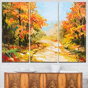 Designart Path in Autumn Forest - L &Scape 金属墙体艺术 - MT6092-48x28-4 面板