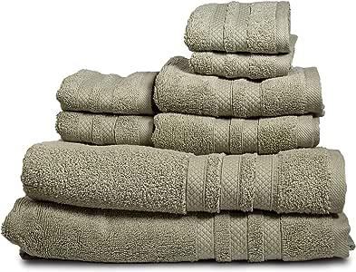 Feather Touch Pure Extravagance 毛巾 8 件套(鼠尾草);2 条浴巾,2 条手巾和 4 条毛巾 - 棉 - 可机洗,*店品质,超柔软且吸水性强 淡紫色(Sage) 8-包每包 1 条 U1084M0RF5603A07