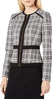 Calvin Klein 女士滚边前拉链格子夹克