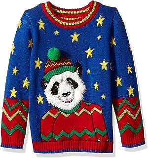 Blizzard Bay Boys' Big Crew Neck Happy Panda Ugly Christmas Sweater, Royal Combo, XL 18/20