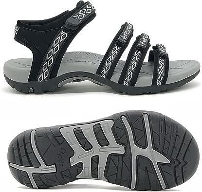 Viakix 女士徒步凉鞋 - 舒适运动时尚凉鞋适合散步、户外、水、运动、海滩 Black02 10 M US