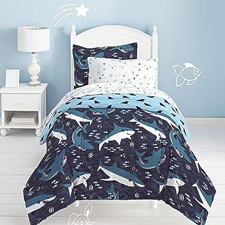 Dream FACTORY Sharks 超柔软超细纤维棉被套装,蓝色 蓝色 两个 2D871301BL
