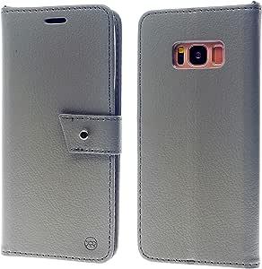 Galaxy S8 (2017) 手机壳,Roar 基本款超薄钱包式手机壳带肩带和身份证信用卡现金插槽口袋,[支架][磁扣] Galaxy S8 (2017) 书型封面 灰色