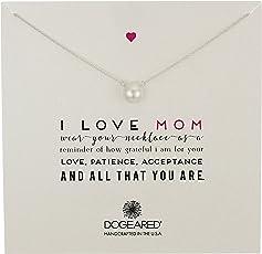 Dogeared 朵吉儿 Mom I Love Mom 大号白色珍珠项链,20 英寸(约 50.8厘米)。