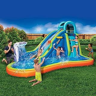 充气巨型水上滑梯 - 大型儿童游泳池(14 英尺长,8 英尺高),内置洒水器波浪和篮球框 - 重型户外冲浪和水上冒险公园 - 包括鼓风机
