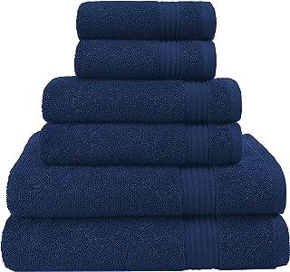 特大尺寸,厚实大号 * 纯棉,奢华酒店和水疗品质,吸水柔软装饰厨房和浴室土耳其毛巾 *蓝 6-Piece Towel Set