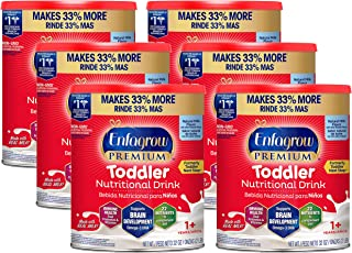 Mead Johnson 美赞臣 Enfagrow 安儿宝 婴幼儿优质天然风味营养奶粉,32盎司(约907.18克),2升,罐装(6罐)-Enfamil制造商,含Omega 3 DHA,益生元,不含人工添加成分(包装可能有所不同)