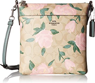 COACH Women's Camo Rose Messenger Crossbody Silver/Light Khaki/Blush One Size