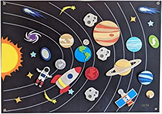 Solar System 墙壁毛毡太空法兰绒板巨型 3.5 英尺(约 91.4 厘米)50+ 件互动银河行星宇航员星小行星Montessori 教学辅助工具