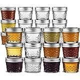 Ball Mason 罐,罐头罐 - 迷你绗缝水晶果冻罐 4 盎司。 常规嘴 – 可用于罐装、保存罐、小罐、喜爱、DIY – 可用于微波炉和洗碗机 随附 SEWANTA 开瓶器