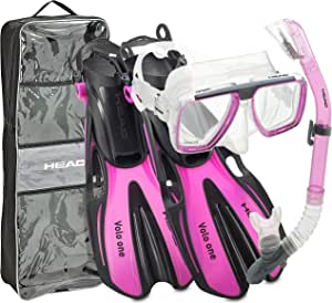 HEAD Rapido 意大利设计优质钢化玻璃透镜浮潜面罩 - 轻松*干燥*管 - 开放式鞋跟带自调节*管泳脚蹼 - 带*管套装手提袋 S/M, (3.5-6)