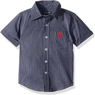 U.S. Polo Assn. 男童短袖条纹梭织衬衫 经典*蓝 14/16