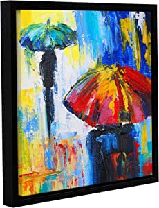 """ArtWall Susi Franco's Red Umbrella Gallery Wrapped Floater-Framed Canvas, 18 by 18"""""""