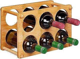 Relaxdays 葡萄酒架,竹制,6瓶,葡萄酒架,适用于厨房,地下室,客厅,葡萄酒架,高BT 21 x 32 x 18.5厘米,天然