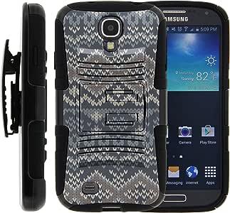 三星 Galaxy S4 手机壳,三星 Galaxy S4 皮套,双层混合装甲硬质手机壳带支架和独特的图像适用于 Samsung Galaxy S4 I9500SAMI9500MTMCB01IM210F Native Sweater Pattern