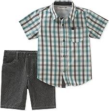 Calvin Klein CK 男孩 2件套短袖衬衫短裤套装