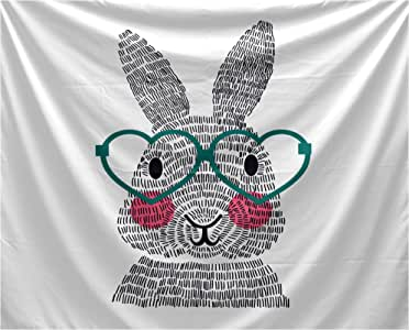 "E By Design Funky Junky Whats Up Bunny? 壁毯 蓝绿色 80x60"" TYHA760BL12-80"