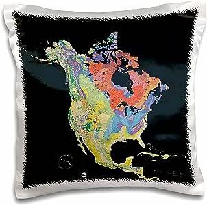 3D Rose 北美贝洛克图案大胆色枕头套,40.64 厘米 x 40.64 厘米