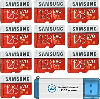 Samsung 三星 128GB Evo Plus MicroSD卡(10包)Class 10 SDXC存储卡带适配器(MB-MC128G)套装带(1)Everything But Stromboli 3.0读卡器带SD和微型(TF)插槽