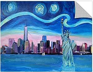 "Tremont Hill Marcus/Martina Bleichner""Manhattan With Liberty 和 WTC 的星夜晚""可移除壁画 蓝色 36X48"" 0ble223a3648p"