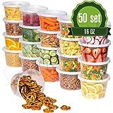塑料食品保鲜盒 16盎司(约453.6毫升)– 50 个午餐餐盒 超薄小巧圆形清洁汤锅,食品保鲜盒 [不含双酚 A,可重复使用或一次性使用,可用洗碗机清洗,可放入微波炉和冰箱]