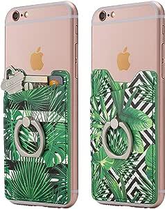 Cardly(两个)手指环和手机棒钱包卡包手机袋适用于 iPhone、Android 和所有智能手机。 Patterned Leaves