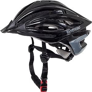 Tommaso Ombra - 假日价格 - 轻量型自行车头盔可拆卸遮阳板公路和 MTB 自行车可调节 4 种颜色 黑色、哑光黑色、白色、钛充分认证*保护男女青年
