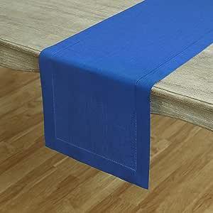 Solino Home Hemstitch Linen 桌巾,餐垫和餐巾纸 蓝色 14 x 72 Inch